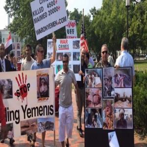 اليمنيون أمام البيت الأبيض وبالتزامن مع لقاء أوباما سلمان يهتفون ضد العدوان ويدينون جرائم السعودية بحق الشعب اليمني1