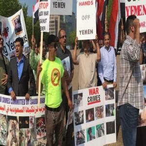 اليمنيون أمام البيت الأبيض وبالتزامن مع لقاء أوباما سلمان يهتفون ضد العدوان ويدينون جرائم السعودية بحق الشعب اليمني